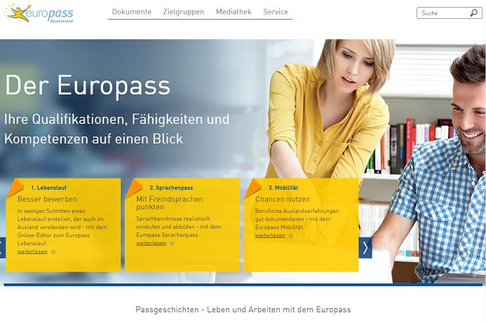 Bild der Homepage von www.europass-info.de